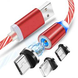 AM67   3in1 1M   Shining magnetic cable to charge your phone with 3 tips