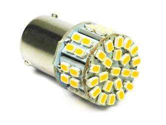 WW LED light bulb car BA15S 50 SMD 1206 Warm White