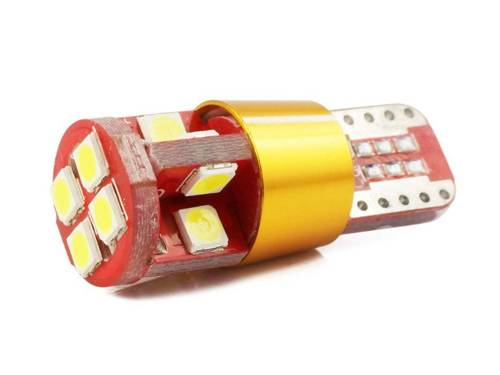Bulb LED Car T10 W5W 12 SMD 3030 CANBUS GOLD