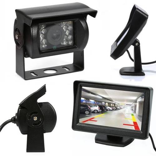 "2in1 | PZ703 PZ470 | Set - 18IR 12-24 Rückfahrkamera mit Monitor 4.3 ""TFT LCD auf dem Bein"