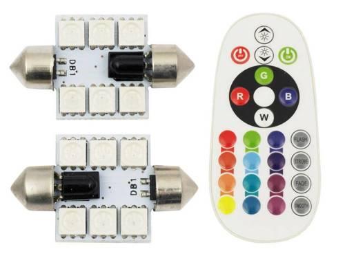 Set RGB C5W | Zwei RGB-LED-Lampe C5W | Fernbedienung Farbe