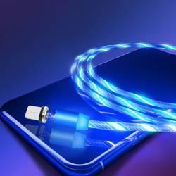 AM67   3w1 2M   Świecący kabel magnetyczny do ładowania telefonu z 3 końcówkami