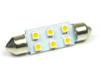 WW Żarówka samochodowa LED C5W 6 SMD 1210 Biała ciepła