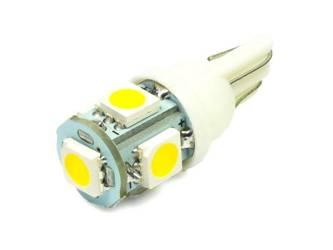 WW Żarówka samochodowa LED W5W T10 5 SMD 5050 Biała ciepła