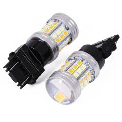 Żarówka LED Dual W21/5W 3157 45 SMD 2835   Dual Color - białe + pomarańczowe
