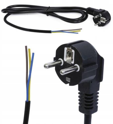 1,5M Kabel zasilający 230V z wtyczką   PWC-1.5M-BLACK