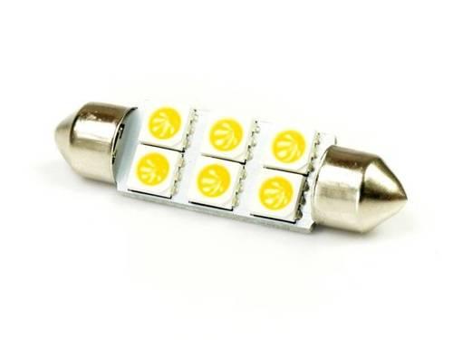 WW Żarówka samochodowa LED C5W 6 SMD 5050 Biała ciepła