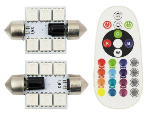 Zestaw RGB C5W | Dwie żarówki LED C5W RGB | Pilot do zdalnego sterowania kolorami